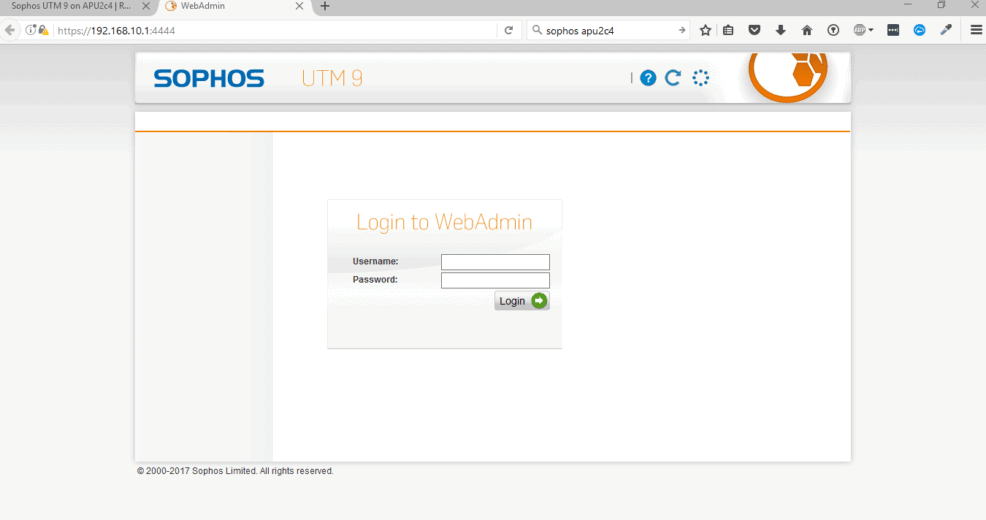 Sophos UTM Home Edition Basic Setup - Admin-Login