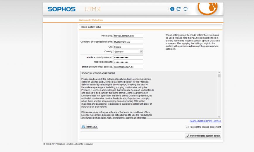 Sophos UTM Basic Setup - Setup