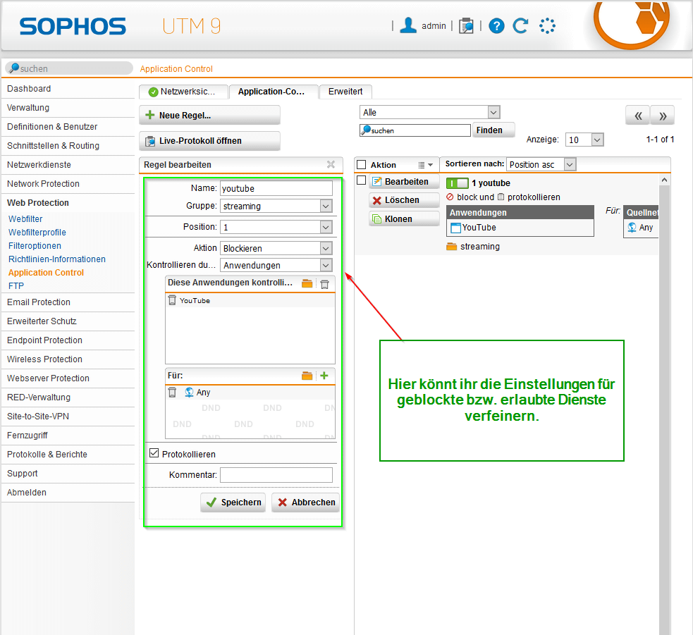 Sophos UTM Application Control - Application Control Regeln Bild 2