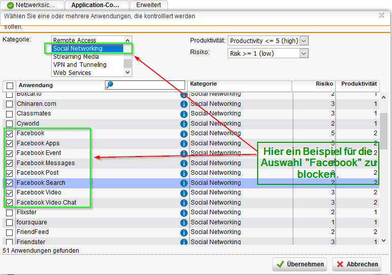 Sophos UTM Application Control - Facebook blockieren Bild 1
