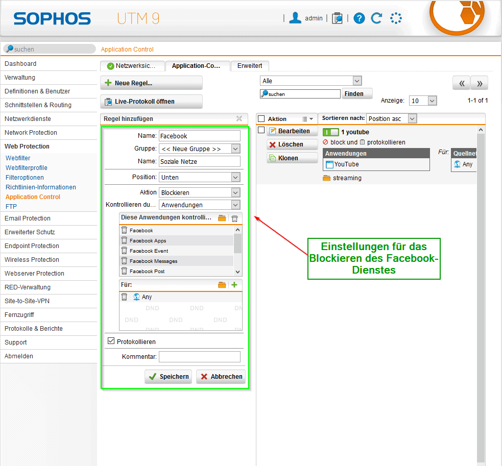 Sophos UTM Application Control - Facebook blockieren Bild 2