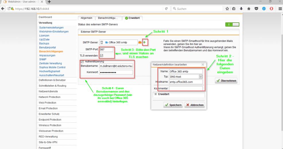 Sophos UTM SMTP Office 365 Zugangsdaten