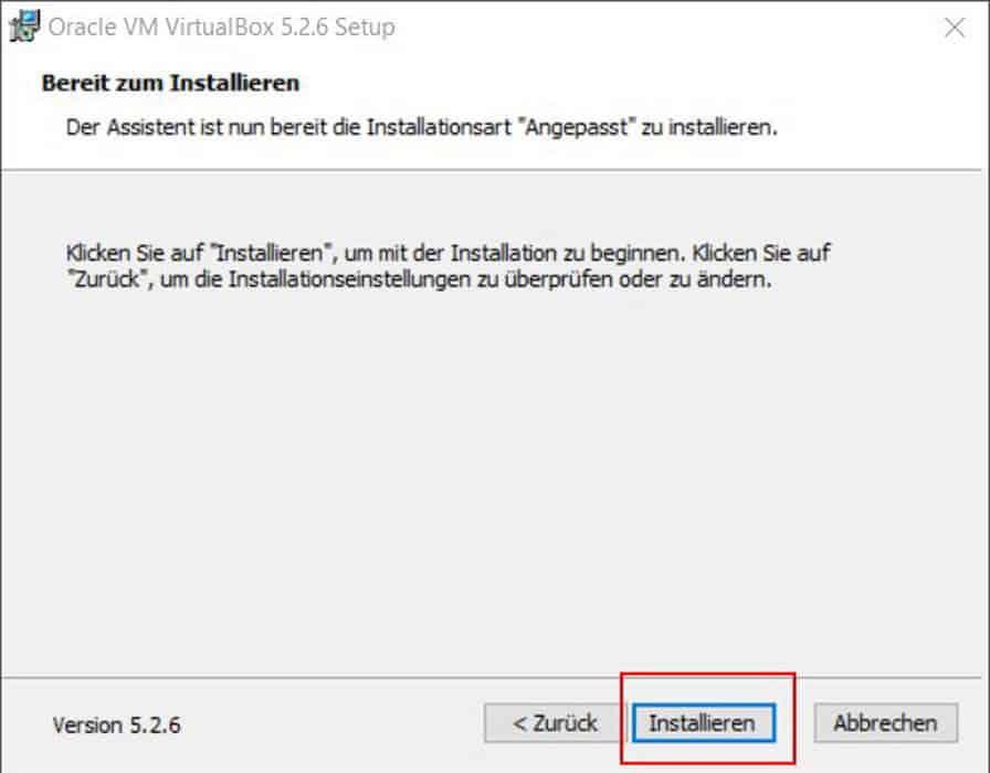 VirtualBox installieren Teil 7