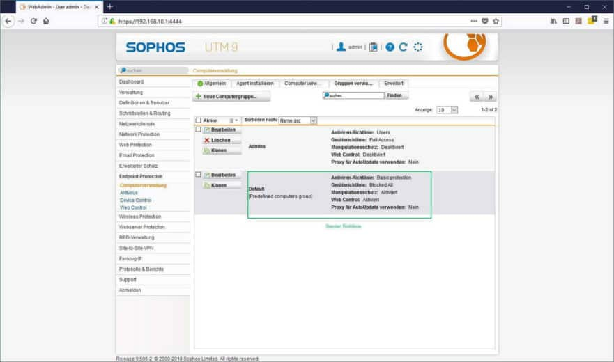 Sophos UTM Endpoint Protection - Computergruppen