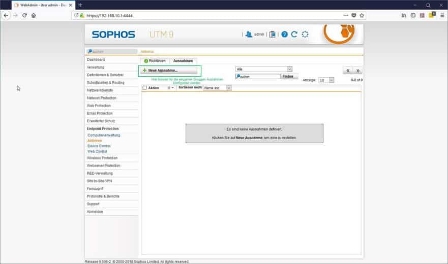 Sophos UTM Endpoint Protection - Antivirus Ausnahmen