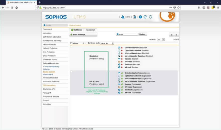Sophos UTM Endpoint Protection - Device Control Richtlinien