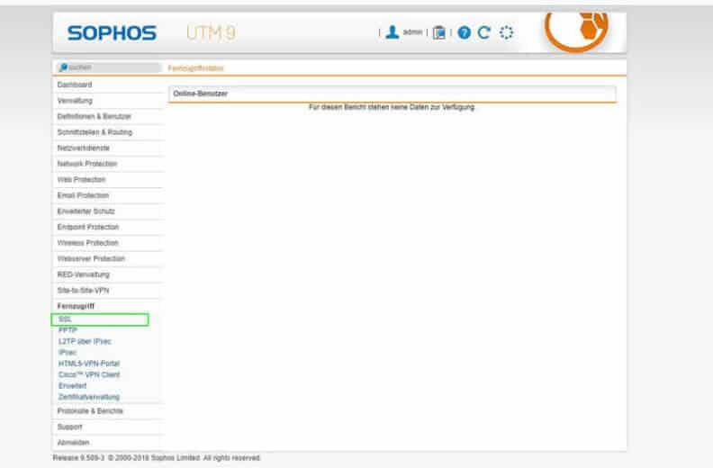 Sophos UTM SSL VPN Menü