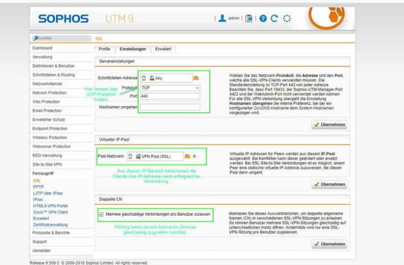 Sophos UTM SSL VPN Einstellungen