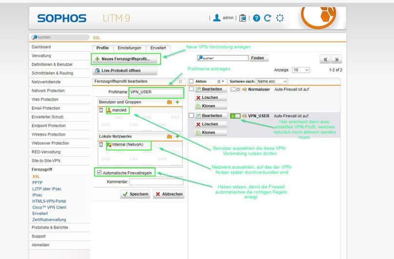 Sophos UTM SSL Profil erstellen
