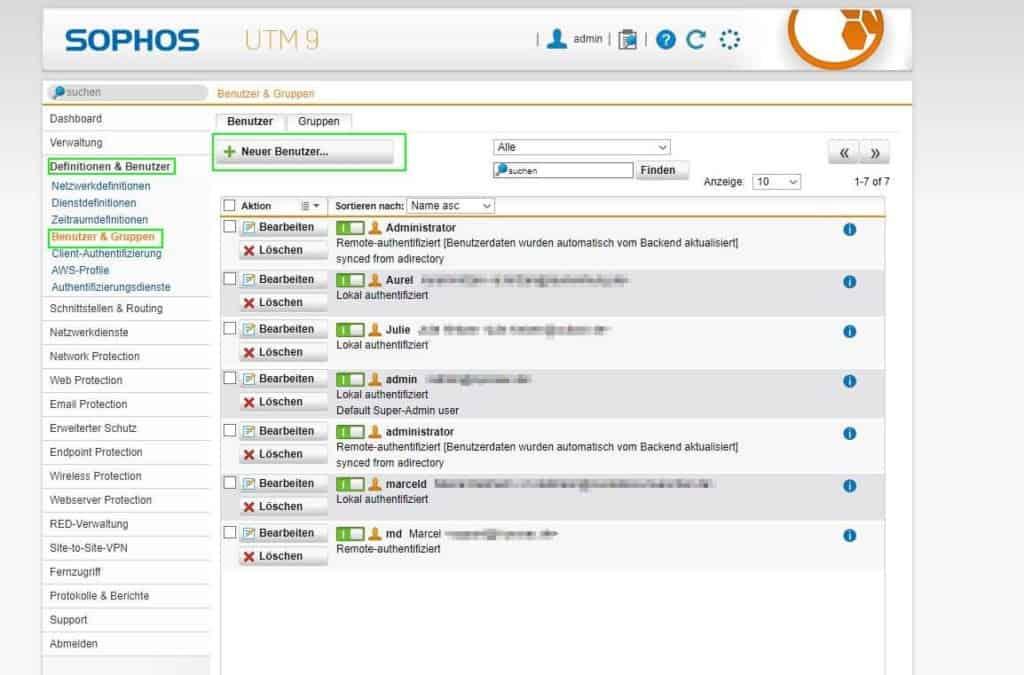 UTM SSL VPN User erstellen