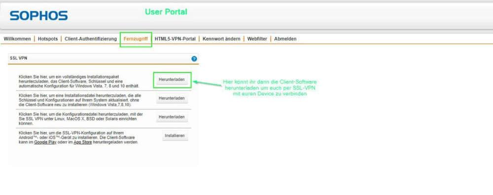 Sophos UTM User Portal