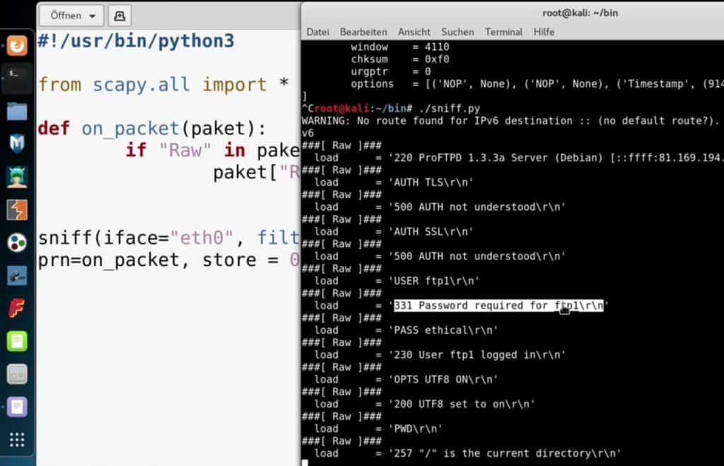 Netzwerk Sniffing - Python Script für das Sniffing einer Ethernet-Verbindung unter Kali Linux