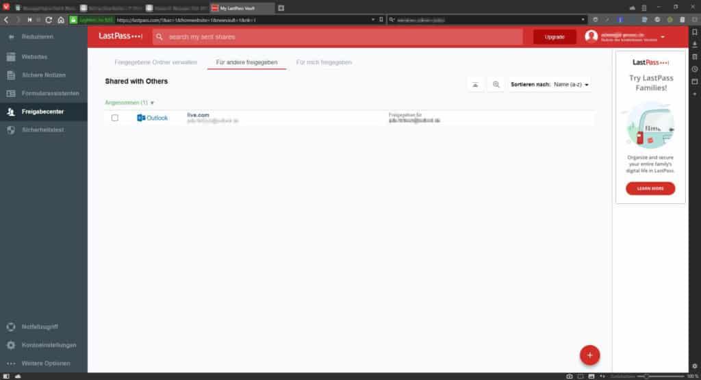Passwort Manager Test LastPass - Fenster Freigabecenter