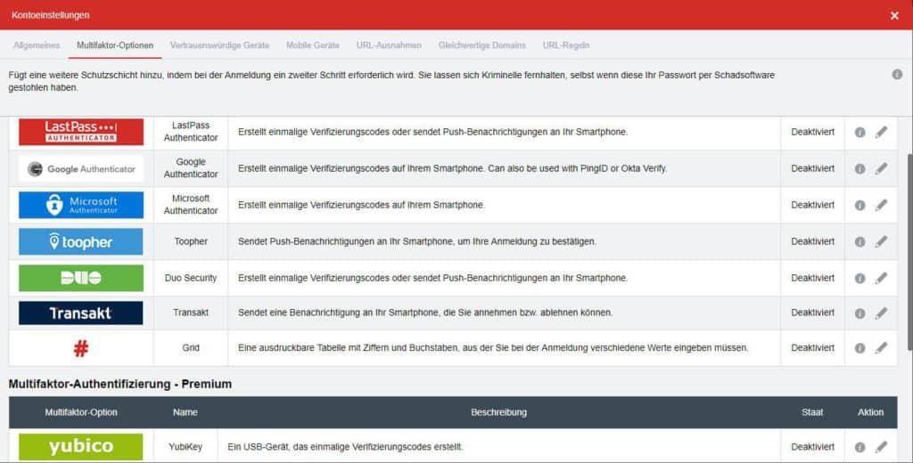Passwort Manager Test LastPass - Fenster Kontoeinstellungen