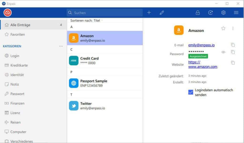 Passwort Manager Enpass - Desktop
