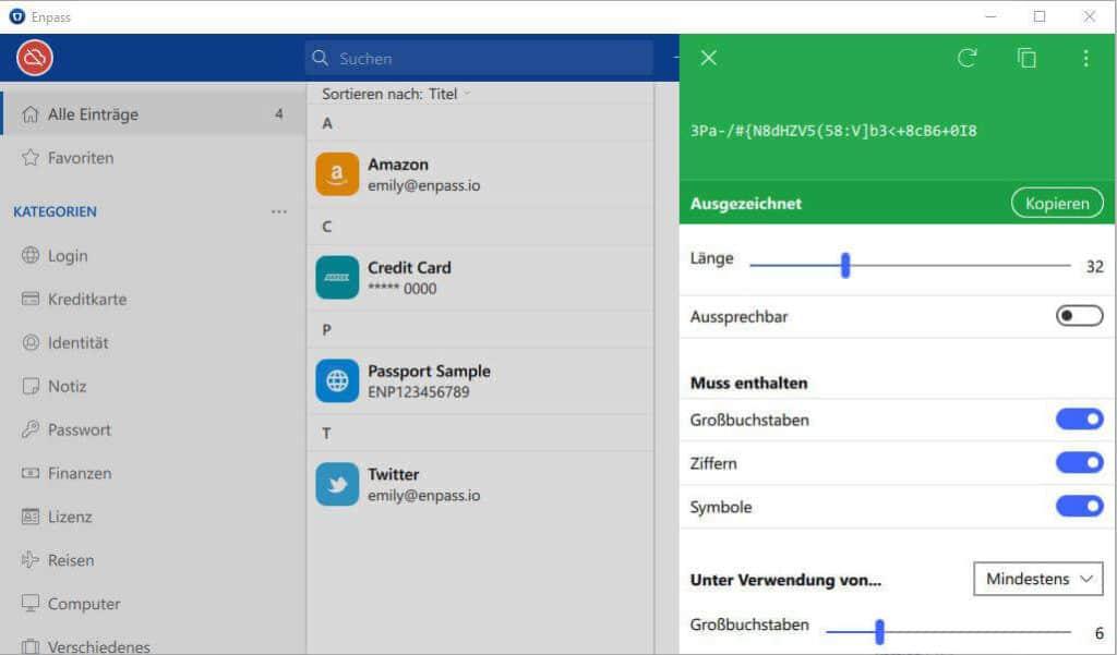 Passwort Manager Enpass - Passwort Generator