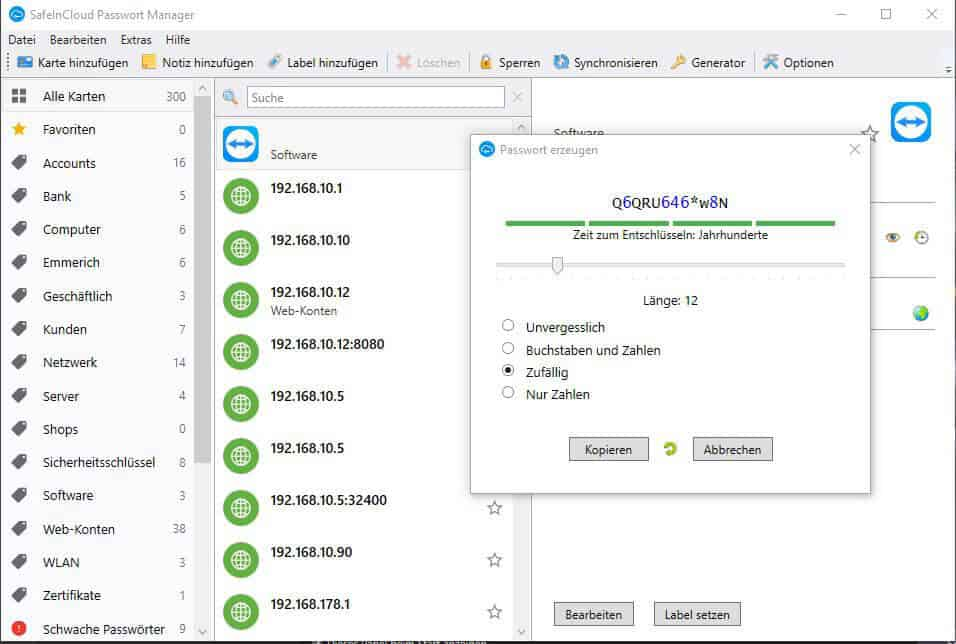 Passwort Manager SafeInCloud Passwort Generator