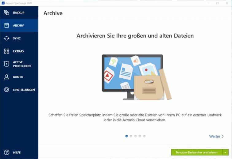Dashboard Acronis Backup Archiv