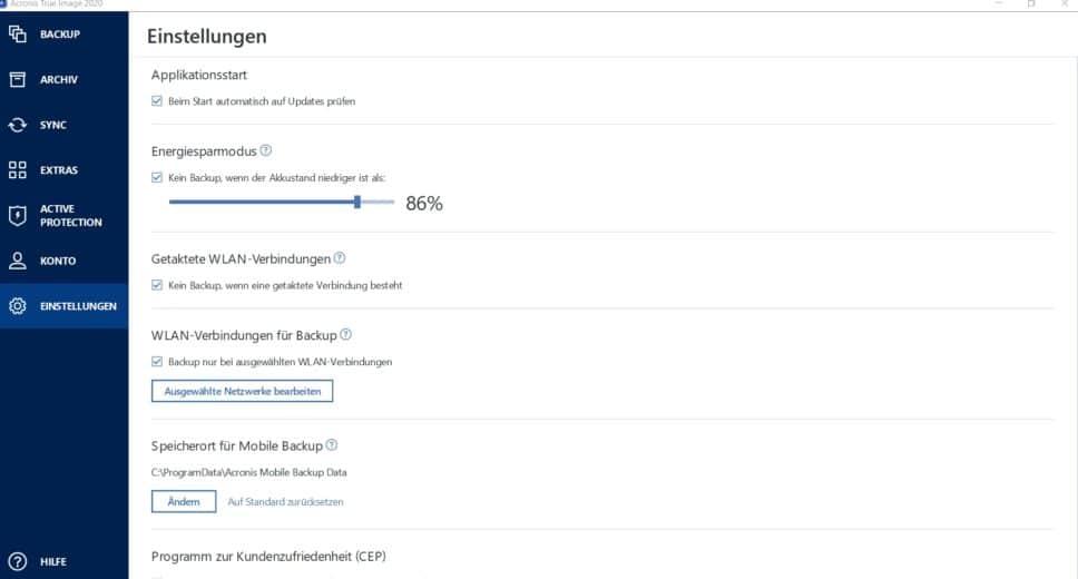 Dashboard Acronis Backup Einstellungen