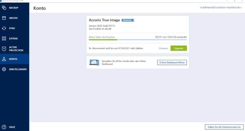 Dashboard Acronis Backup Konto