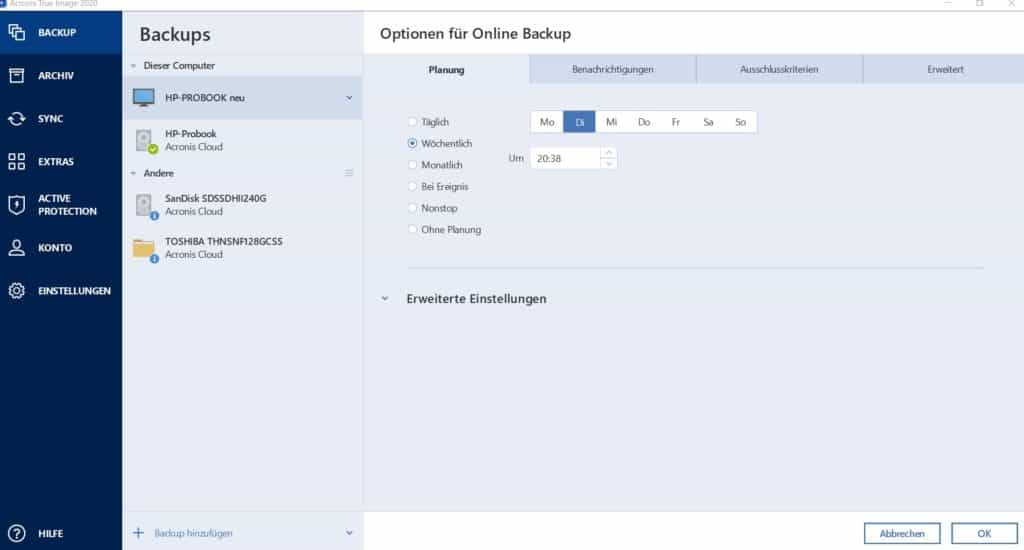 Dashboard Acronis Backup Optionen Backup