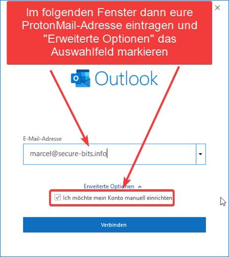 OUTLOOK ProtonMail Adresse eingeben