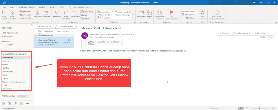 ProtonMail Outlook Einrichtung abgeschlossen