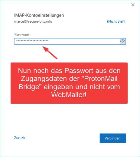 ProtonMail Outlook Konto hinzufügen Passwort