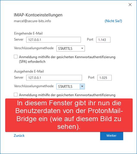 ProtonMail Outlook Konto hinzufügen Serverdaten