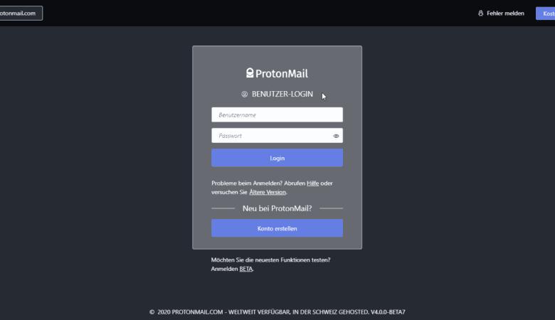ProtonMail Beta Anmeldung