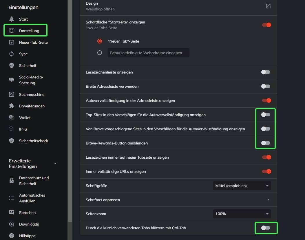 Sichere Konfiguration Brave Browser Bild 1