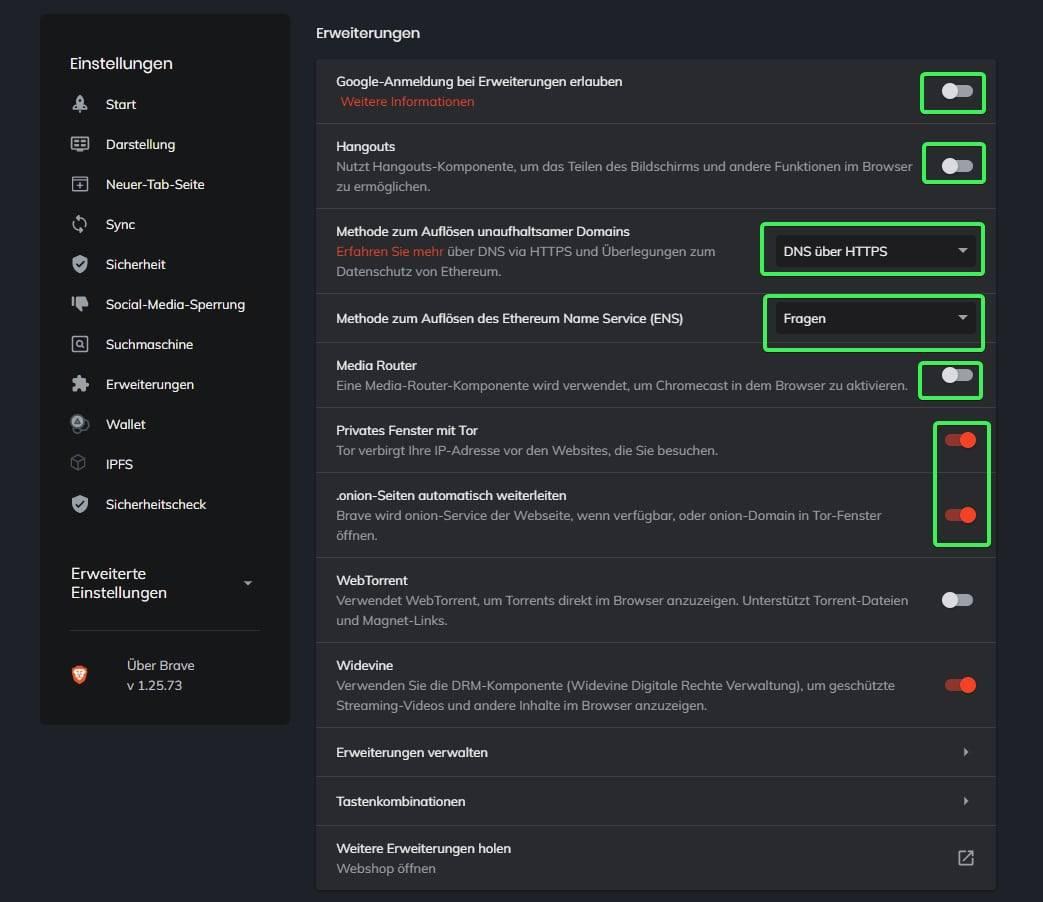 Sichere Konfiguration Brave Browser Bild 6