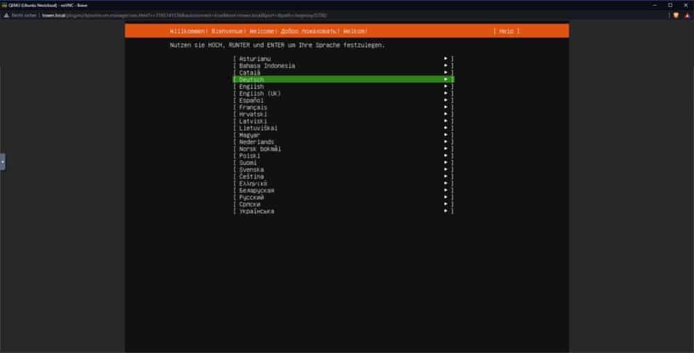 Bild 1 - Ubuntu Server Installation - Sprachauswahl