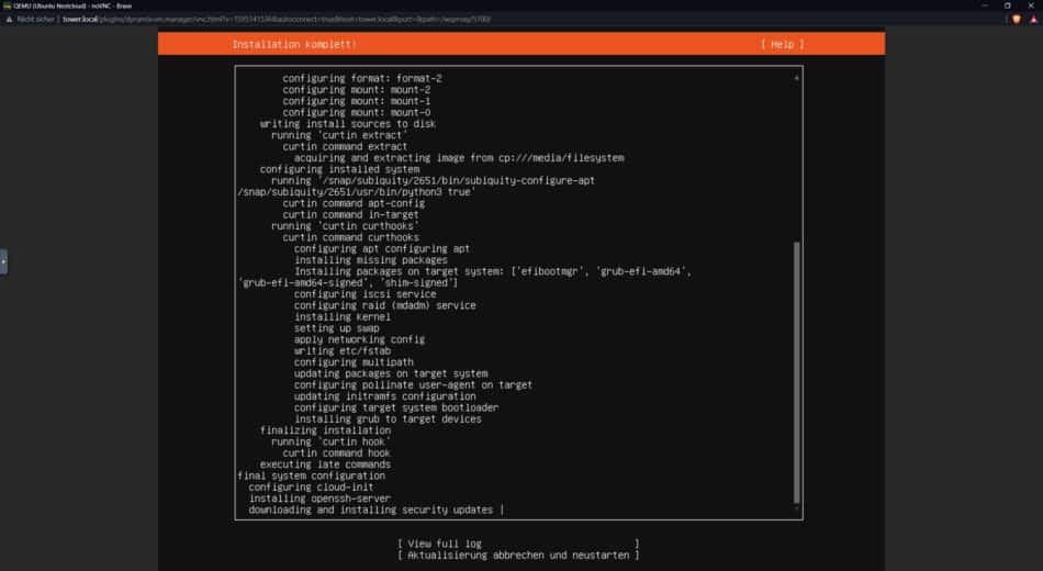 Bild 12 - Ubuntu Server Installation - Ubuntu Server wird installiert